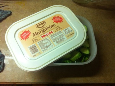 My fancy dancy pickle containe- the Co-Op margerine tub.